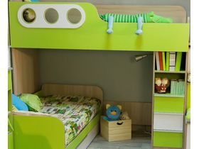 """Угловая детская двухъярусная кровать с ящиками """"Беби бум"""""""