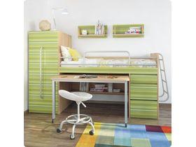 """Мебель для маленькой детской """"Минимакс"""" c кроватью трансформером в зеленом цвете"""