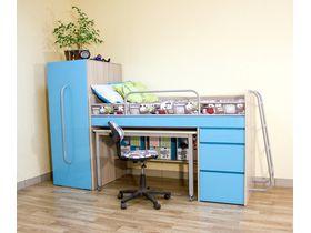 """Компактная мебель для детской """"Минимакс"""" c кроватью трансформером в голубом цвете"""