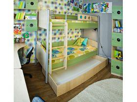 """Детская двухъярусная кровать """"Полосатый рейс"""" с ящиком для белья"""