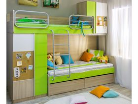 """Детская двухъярусная кровать со шкафом """"ТВИСТ"""""""