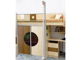 """Разноцветная кровать-чердак с канатом """"Выше радуги"""""""