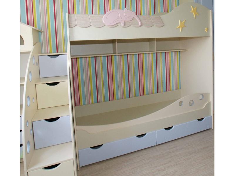 """Детская двухъярусная кровать """"Кошки"""""""