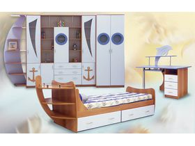 """Набор детской мебели """"Парусник 1"""" с фасадами в белом цвете"""