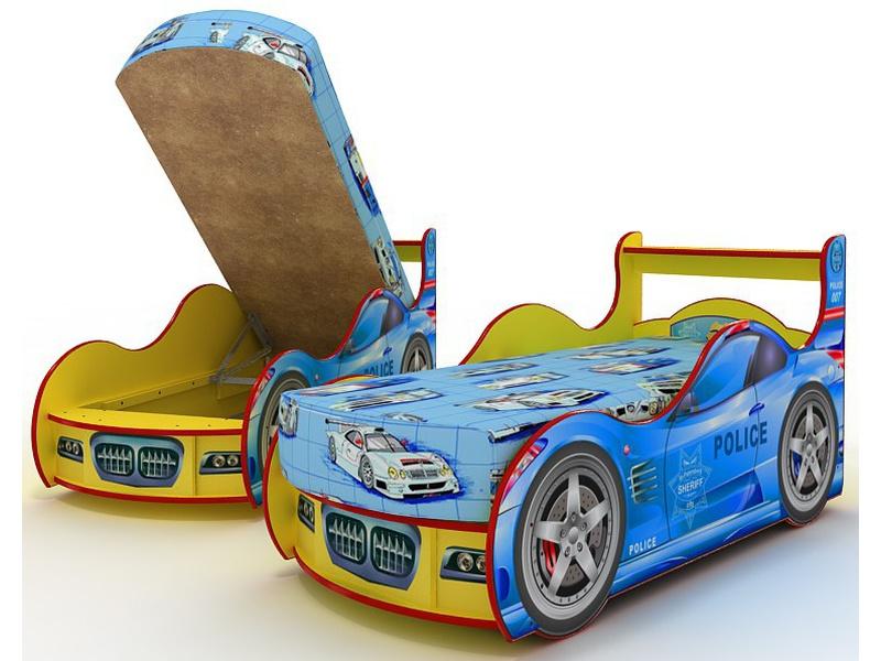 """Детская кровать в виде машины """"Полиция"""" с просторным ящиком для белья"""