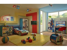 """Детская спальня для мальчика """"Роботы бежевые"""""""