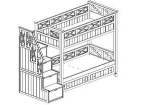 Двухъярусная кровать с тумбой ступенями