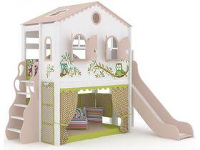 Домик большой Совы, наклонная, закрытая лестница, панели-ручная роспись, горка
