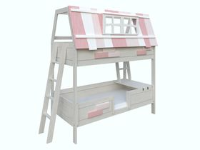 """Детская двухъярусная кровать """"Английский домик"""" с розовой крышей из коллекции """"Сиело"""""""