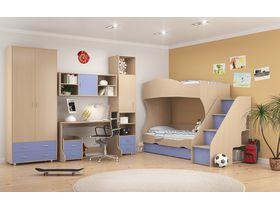"""Детская комната """"Дельта"""" с двухъярусной кроватью и лестницей тумбой (вариант 2)"""