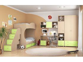 """Детская комната """"Дельта"""" с двухъярусной кроватью и лестницей тумбой"""