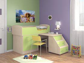 """Детская кровать-чердак """"Дюймовочка"""" с рабочей зоной в зеленом цвете"""
