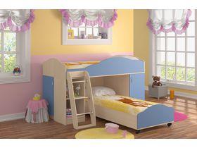 """Угловая детская двухъярусная кровать """"Анастасия"""" со шкафом с голубыми фасадами"""