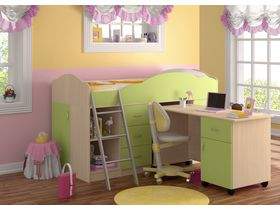 """Детская кровать-чердак """"Дюймовочка (Вариант 2)"""" с рабочей зоной в зеленом цвете"""