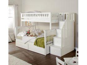 """Двухъярусная кровать """"Анжелика"""" в белом цвете с лестницей тумбой"""