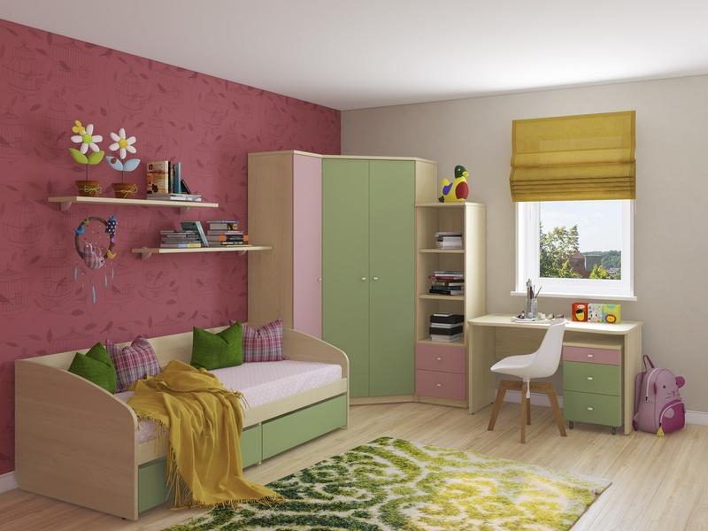 Детская комната Next с кроватью диваном и угловым шкафом