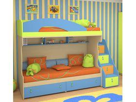 """Детская двухъярусная кровать """"Миа"""" с яркими цветными фасадами"""