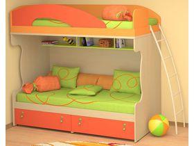 """Детская двухъярусная кровать с цветными фасадами под матрас 90*200 """"МИА"""""""