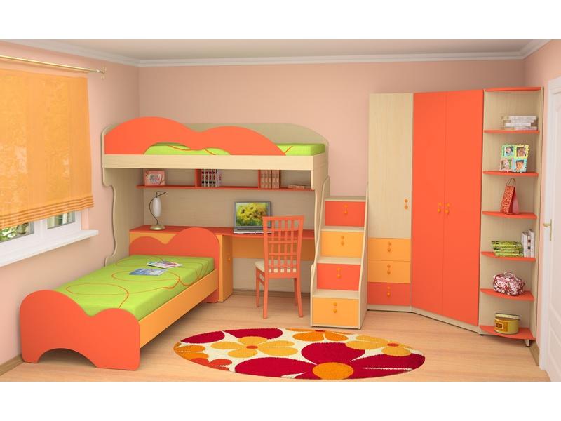 """Детская комната """"Миа"""" с цветными яркими фасадами для двоих детей (Вариант 1)"""