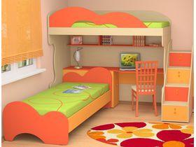"""Детская кровать-чердак с рабочей зоной для двоих детей """"МИА"""""""