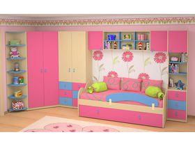 """Детская комната для девочки """"Миа"""" (Вариант 2 с розовыми фасадами)"""