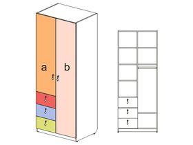 """Шкаф 2х дверный с 3 узкими ящиками """"Миа"""""""