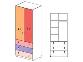 """Шкаф 2-х дверный с 3 ящиками """"Миа"""""""