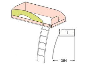 """Кровать верхняя 90*200 с металлической лестницей """"Миа"""""""
