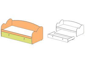 """Кровать-диван с выдвижной кроватью (резное изголовье/изножье) """"Миа"""""""