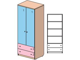 """Детский двухдверный шкаф с ящиками из коллекции """"Некст"""""""