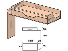 """Кровать второго уровня под матрас 200х90 см из детской коллекции """"Некст"""""""