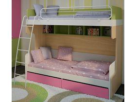 Детская двухъярусная кровать для девочек Солнечный город (Композиция 2)