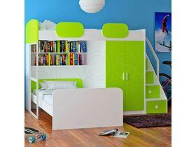 """Кровать чердак с дополнительной кроватью в яркой цветовой гамме """"Geko"""""""