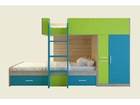 """Двухъярусная кровать для двоих детей со шкафом """"Geko"""""""