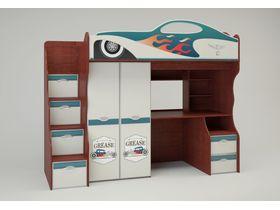"""Детская кровать-чердак со столом и шкафом для мальчика """"Hot Rod"""""""