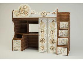 """Кровать-чердак со столом и шкафом многофункциональная в тематическом стиле """"Механика"""""""