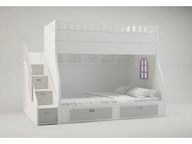 """Кровать двухъярусная в белой цветовой гамме из коллекции """"Замок"""""""