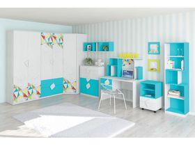 """Мебель для подростковой спальни """"Кристи"""" в голубом цвете"""