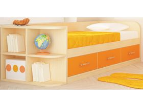 """Детская кровать диван с 3 ящиками с оранжевыми фасадами """"Макс"""""""