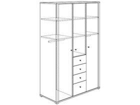 Шкаф платяной (3 дверцы, 4 ящика, 2 стенки средних, 6 полок, 2 штанги для одежды)