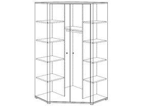 Угловой шкаф платяной (2 дверцы, 2 стенки средних, 9 полок, 1 штанга для одежды)