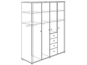 Шкаф платяной (4 дверцы, 4 ящика, 3 стенки средних, 8 полок, 3 штанги для одежды)
