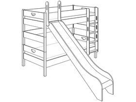 Детская двухъярусная кровать (с горкой, с лестницей прямой, с отверстиями) из массива бука