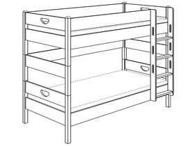 Детская двухъярусная кровать (с лестницей прямой с отверстиями) из массива бука