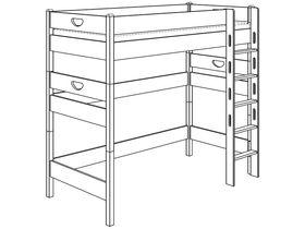 Кровать высокая игровая (с лестницей прямой с отверстиями)
