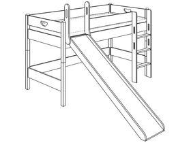 Игровая кровать (с горкой, с лестницей прямой с отверстиями)