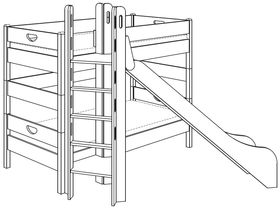 Детская двухъярусная кровать (с башней и горкой) из массива бука