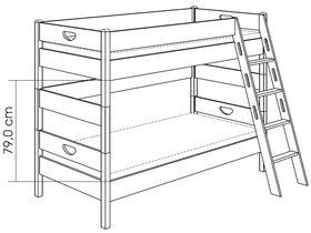 Детская двухъярусная кровать (с лестницей наклонной с отверстиями) из массива бука