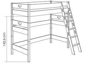Кровать высокая игровая (с лестницей наклонной с отверстиями)