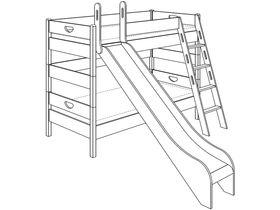 Детская двухъярусная кровать (с горкой, с лестницей наклонной, с отверстиями) из массива бука